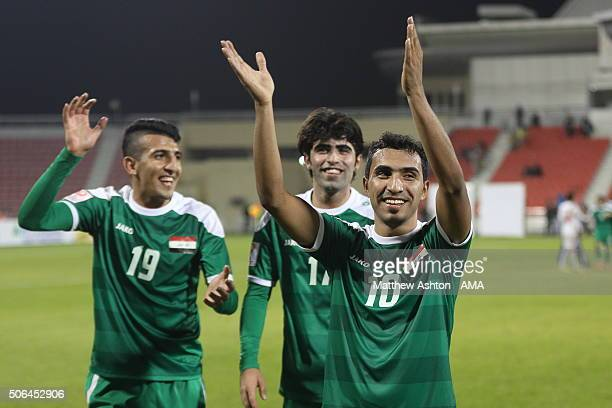 Ali Hisny Faisal of Iraq celebrates the 31 victory after the AFC U23 Championship quarter final match between United Arab Emirates v Iraq at the...