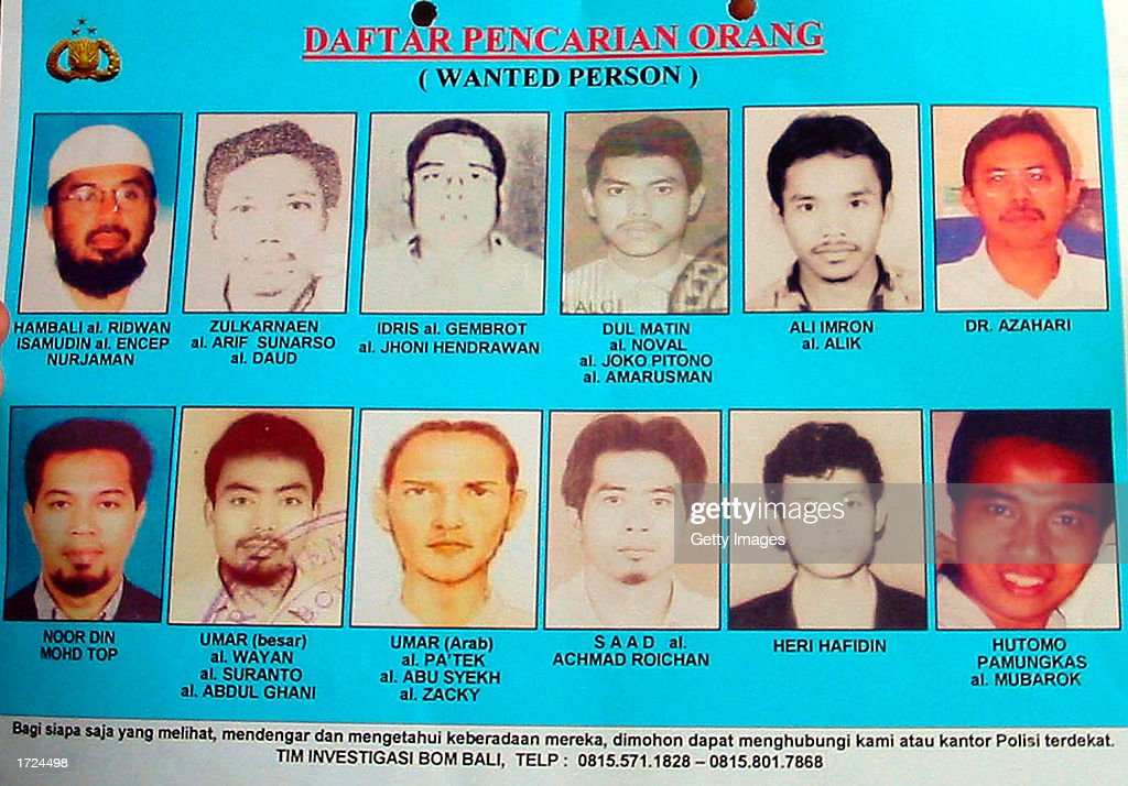 Ali Imron, fifth from the left, top, one of the Bali bombing suspects, is shown in this undated police handout photo from Denpasar, Bali, Indonesia. Indonesian police said January 14, 2003 that they have arrested two more suspects of the October 12, 2002 Bali bombings, including Ali Imron, whom they suspected parked the bomb-laden minivan which killed more than 180 people. Police said they are hunting nine more suspects.