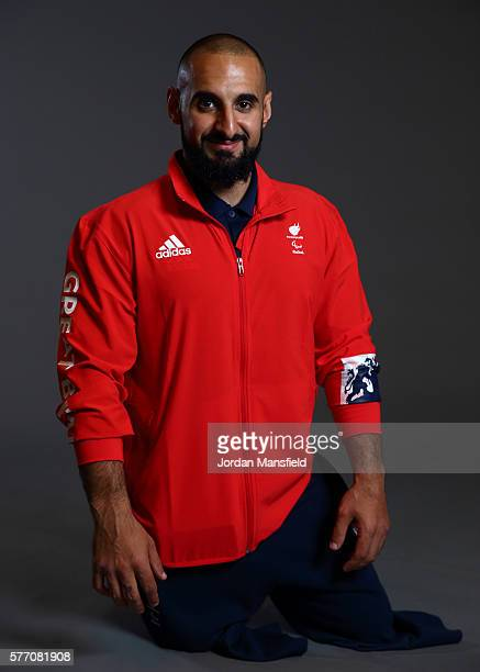 Ali Jawad a member of the ParalympicsGB Powerlifting team poses for a portrait during the Paralympics GB Media Day at Park Plaza Westminster Bridge...