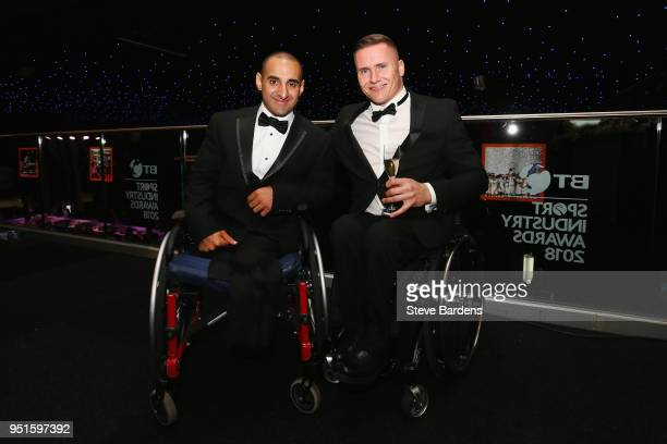 Ali Jawad and David Weir pose during the BT Sport Industry Awards 2018 at Battersea Evolution on April 26 2018 in London England The BT Sport...