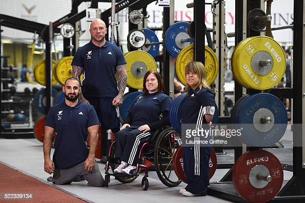 Ali Jawad Mickey Yule Natalie Blake and Zoe Newson of Paralympics GB Powerlifting Team pose for a portrait during the Paralympic Team Announcement at...