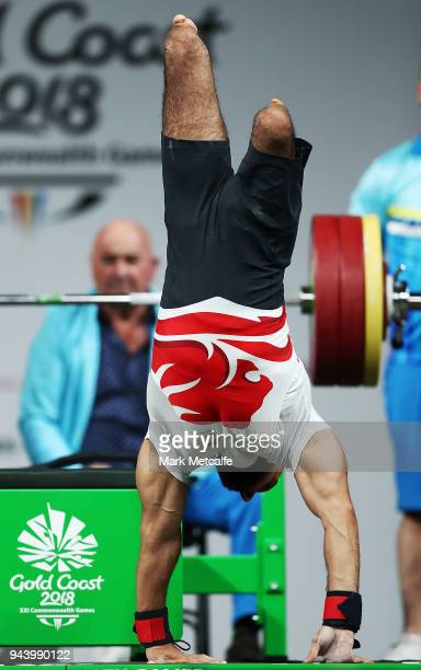 Ali Jawad of England celebrates a lift in the Men's Lightweight Final during the Para Powerlifting on day six of the Gold Coast 2018 Commonwealth...