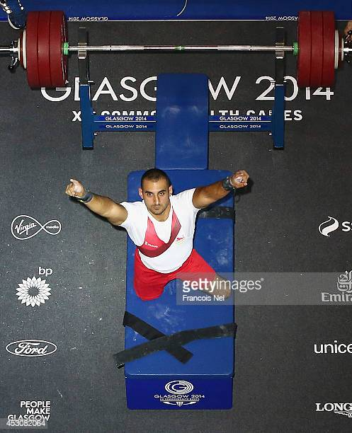 Ali Jawad of England celebrates during the Men's Lightweight Powerlifting at Scottish Exhibition And Conference Centre during day ten of the Glasgow...