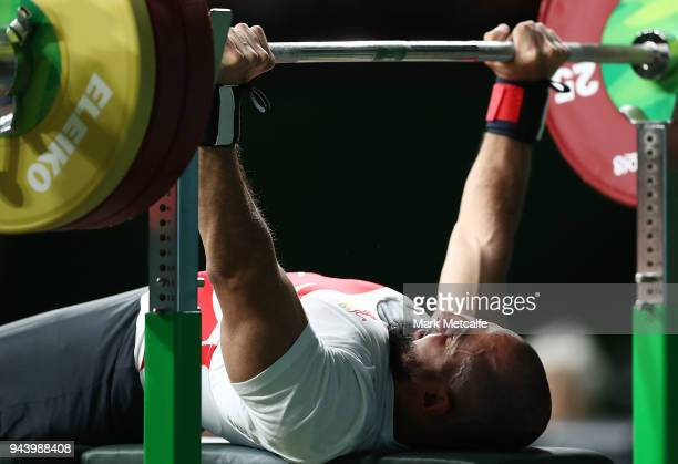 Ali Jawad of England competes in the Men's Lightweight Final during the Para Powerlifting on day six of the Gold Coast 2018 Commonwealth Games at...