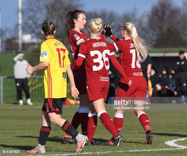Ali Johnson of Liverpool Ladies celebrates scoring the opening goal with her team mates Ashley Hodson and Caroline Weir during the SSE Women's FA Cup...
