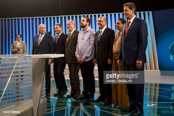 Ali Kamel director of Globo television network and Brazilian presidential candidates Henrique Meirelles Alvaro Dias Ciro Gomes Guilherme Boulos...