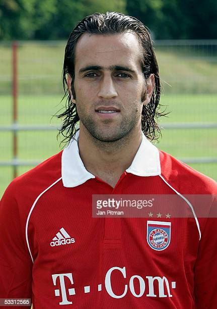 Ali Karimi new player of FC Bayern Munich poses for photographers during the team presentation of FC Bayern Munich on August 1 2005 in Munich Germany