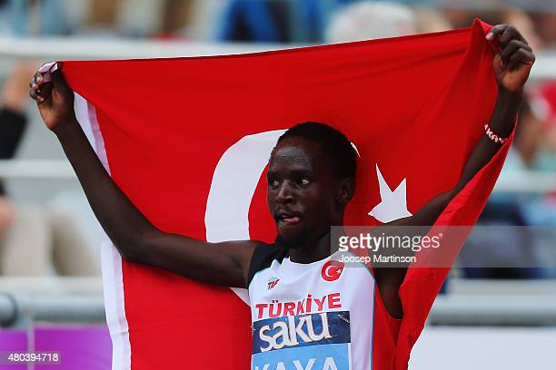 Ali Kaya of Turkey celebrates winning the Men's 5000m on day three of the European Athletics U23 Championships at Kadriorg Stadium on July 9 2015 in...