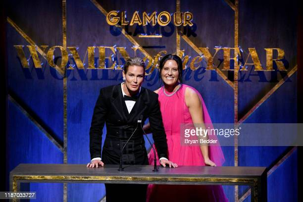 Ali Krieger and Ashlyn Harris speak onstage at the 2019 Glamour Women Of The Year Awards at Alice Tully Hall on November 11 2019 in New York City