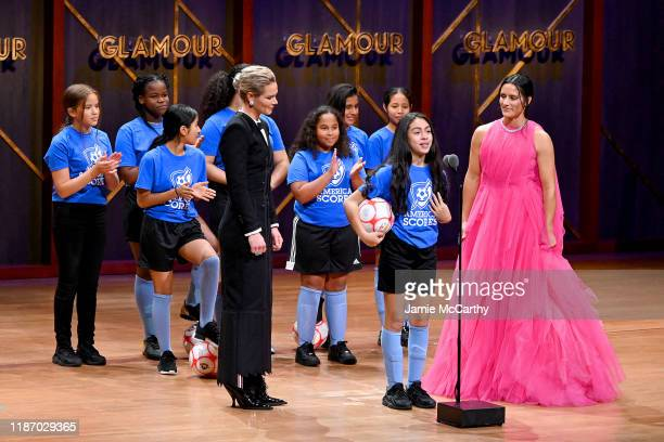 Ali Krieger Ashlyn Harris and the Mott Hall Girls soccer team are seen onstage at the 2019 Glamour Women Of The Year Awards at Alice Tully Hall on...