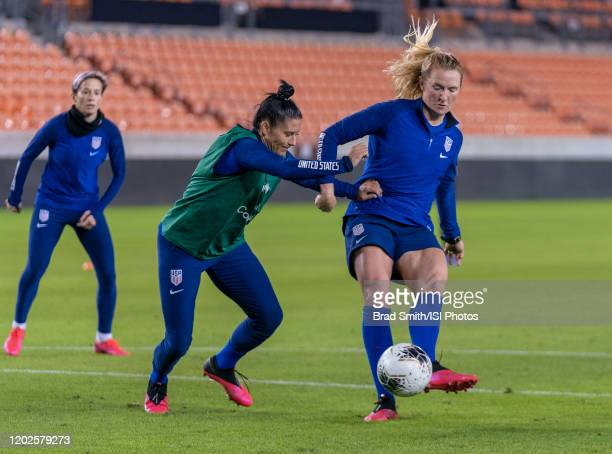 Ali Krieger defends Sam Mewis of the United States at BBVA Stadium on January 27 2020 in Houston Texas