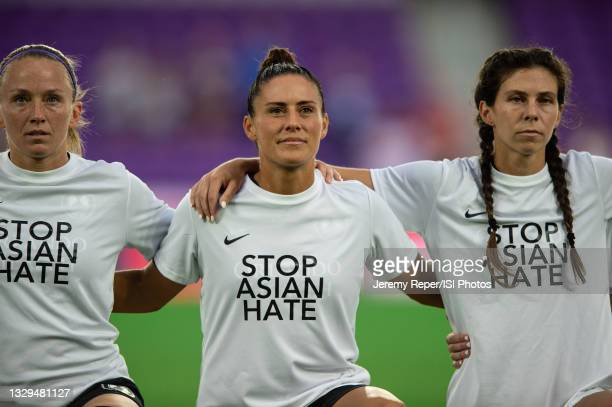 Ali Krieger of the Orlando Pride representing Stop Asian Hate before a game between Racing Louisville FC and Orlando Pride at Exploria Stadium on...