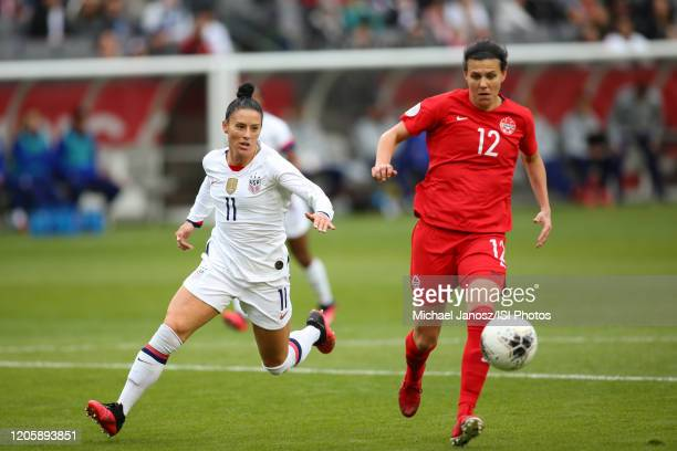 Ali Krieger of the United States chases Christine Sinclair of Canada during a game between Canada and United States at Dignity Health Sports Park on...
