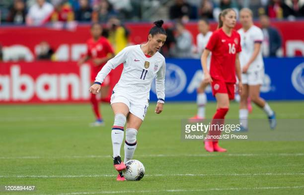 Ali Krieger of the United States controls the ball during a game between Canada and United States at Dignity Health Sports Park on February 9 2020 in...