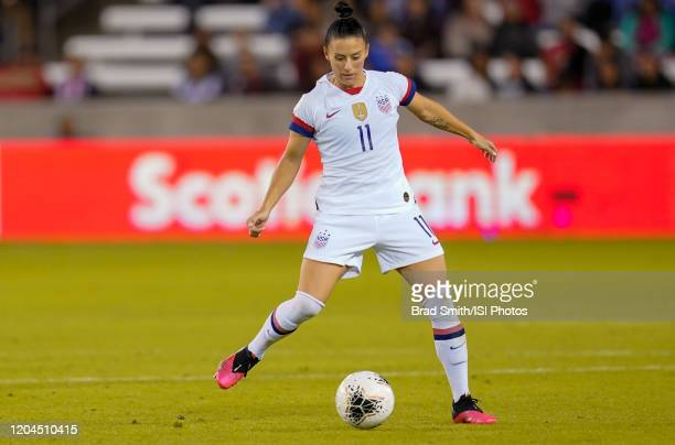 Ali Krieger of the United States moves with the ball during a game between Costa Rica and USWNT at BBVA Stadium on February 03 2020 in Houston Texas