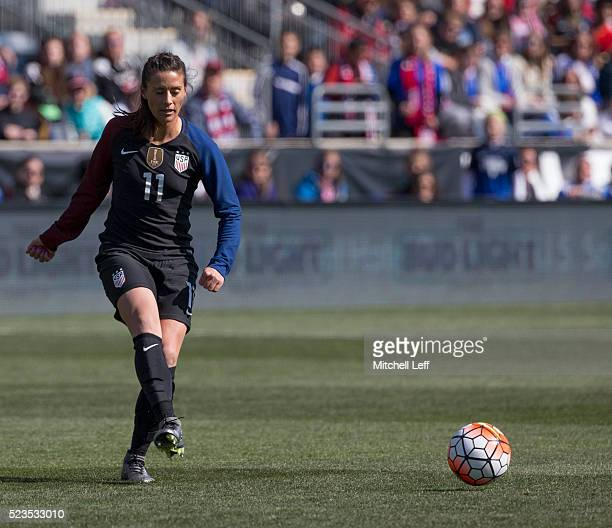 Ali Krieger of the United States passes the ball against Colombia at Talen Energy Stadium on April 10 2016 in Chester Pennsylvania The United States...