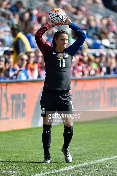Ali Krieger of the United States prepare for a throwin against Colombia during the second half at Talen Energy Stadium on April 10 2016 in Chester...