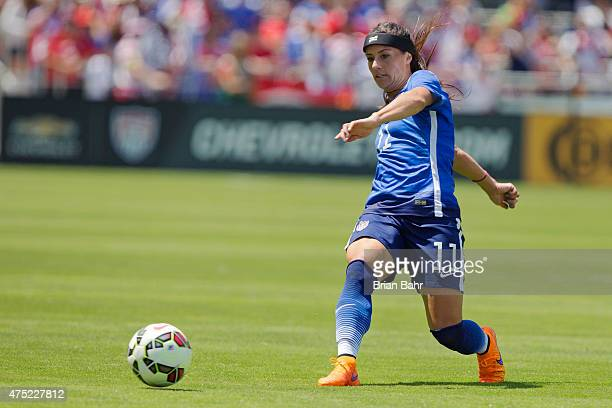 Ali Krieger of the United States slides the ball up the middle against Ireland in the first half of their international friendly match on May 10 2015...