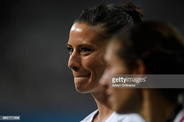 Ali Krieger of the United States smiles after the second half of the United States' 20 first round Rio 2016 group G match win over New Zealand