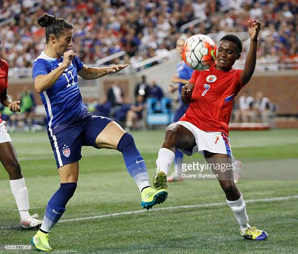 Ali Krieger of the United States takes a shot on goal against Roselord Borgella of Haiti during the second half of the US Women's 2015 World Cup...