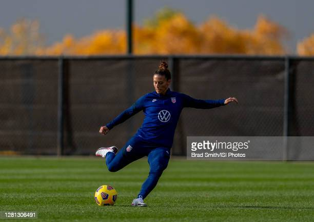 Ali Krieger of the USWNT passes the ball during a training session at Dick's Sporting Goods Park training fields on October 19 2020 in Commerce City...