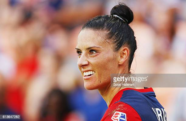 Ali Krieger of the Washington Spirit waits to take a corner kick against the Western New York Flash during the second half of the 2016 NWSL...