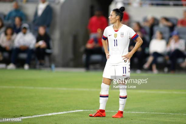 Ali Krieger of United States Women's National Team looks on during a game against the Belgian Women's National Team at Banc of California Stadium on...