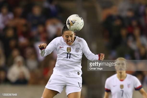 Ali Krieger of USA head the ball during the CONCACAF Women's Olympic Qualifying group A game between Panama and USA at BBVA Compass Stadium on...