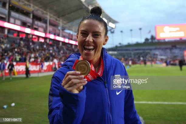 Ali Krieger of USA shows his medal after wining the Final game between Canada and United States as part of the 2020 CONCACAF Women's Olympic...