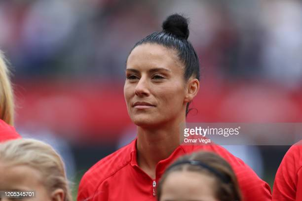 Ali Krieger of USA stands during the National Anthem before the Final game between Canada and United States as part of the 2020 CONCACAF Women's...