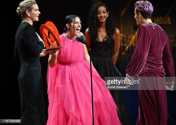 Ali Krieger speaks onstage alongside Ashlyn Harris and Megan Rapinoe at the 2019 Glamour Women Of The Year Awards at Alice Tully Hall on November 11...