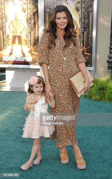 """Ali Landry and daughter Estela arrive at the World Premiere of """"Zookeeper"""" at the Regency Village Theatre on July 6, 2011 in Westwood, California."""