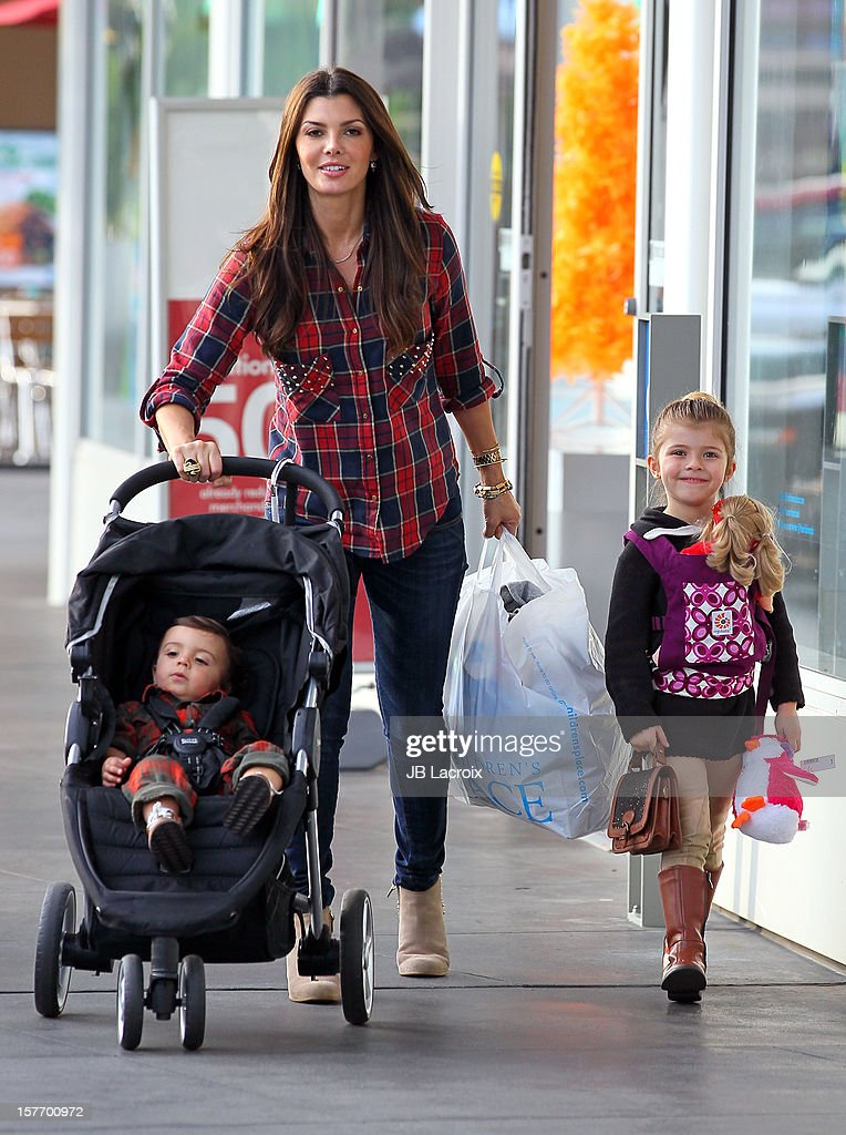 Ali Landry, Estela Ines Monteverde and Marcelo Alejandro are seen shopping at The Children's Place on December 5, 2012 in Los Angeles, California.