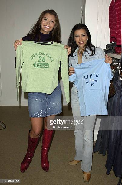 Ali Landry Eva Longoria during American Eagle Outfitters Customization Workshop at American Eagle Outfitters Showroom in Los Angeles California...