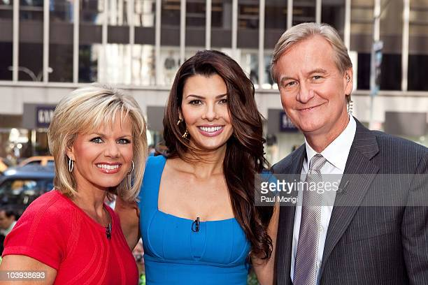Ali Landry poses for a photo with 'FOX Friends' Cohosts Gretchen Carlson and Steve Doocy outside the FOX studios on September 9 2010 in New York City