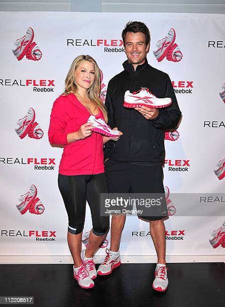 Ali Larter and Josh Duhamel attend the launch of Reebok's RealFlex footwear at SIR Stage 37 on April 14 2011 in New York City
