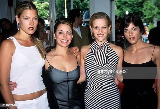 Ali Lauder, Alanna Ubach, Reese Witherspoon, and Selma Blair attend the premiere of 'Legally Blonde,' Southampton, New York, July 7, 2001.