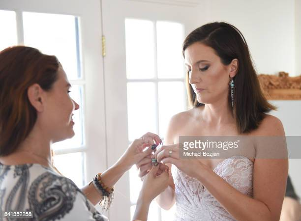 Ali Levine styles Julie Lake with a Dalia Mcphee dress and Xehar earrings at TAP The Artists Project Style House on August 31 2017 in Los Angeles...