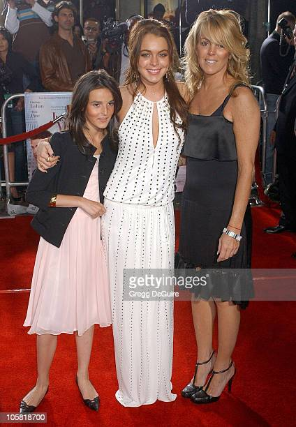 Ali Lohan Lindsay Lohan and mom Dina Lohan during 'Just My Luck' Los Angeles Premiere Arrivals at National Theatre in Westwood California United...