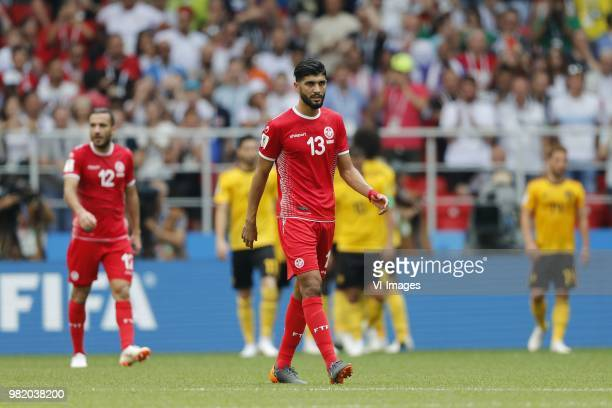Ali Maaaloul of Tunisia Ferjani Sassi of Tunisia during the 2018 FIFA World Cup Russia group G match between Belgium and Tunisia at the Otkrytiye...