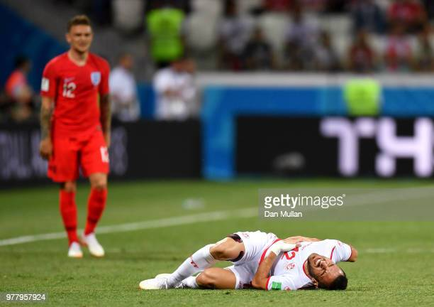 Ali Maaloul of Tunisia goes down during the 2018 FIFA World Cup Russia group G match between Tunisia and England at Volgograd Arena on June 18 2018...