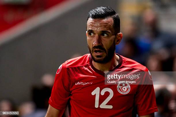 Ali Maaloul of Tunisia looks on during the friendly match of preparation for FIFA 2018 World Cup between Portugal and Tunisia at the Estadio AXA on...