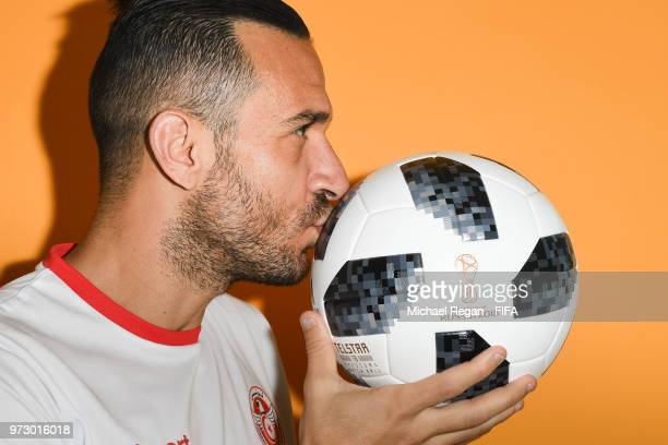 Ali Maaloul of Tunisia poses during the official FIFA World Cup 2018 portrait session at on June 13 2018 in Moscow Russia