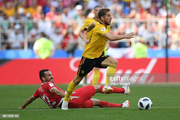 Ali Maaloul of Tunisia tackles Dries Mertens of Belgium during the 2018 FIFA World Cup Russia group G match between Belgium and Tunisia at Spartak...