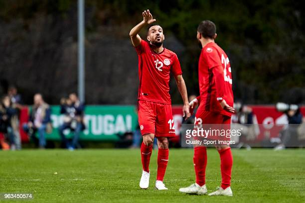 Ali Maaloul of Tunisia talks with Naim Sliti of Tunisia during the friendly match of preparation for FIFA 2018 World Cup between Portugal and Tunisia...