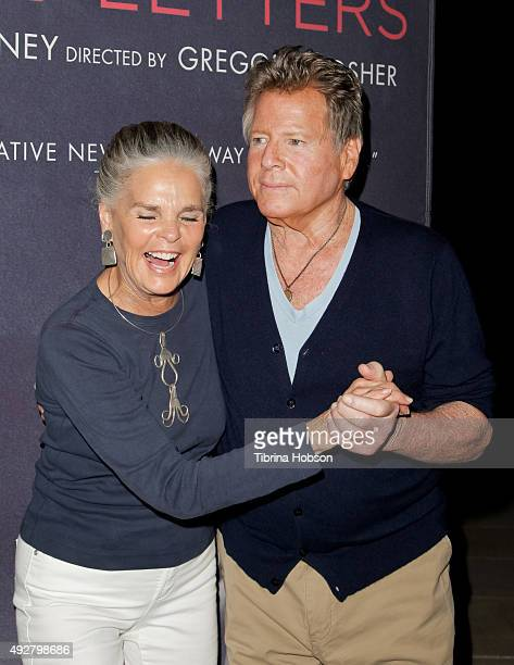 Ali MacGraw and Ryan O'Neal attend the curtain call for 'Love Letters' at Wallis Annenberg Center for the Performing Arts on October 14, 2015 in...