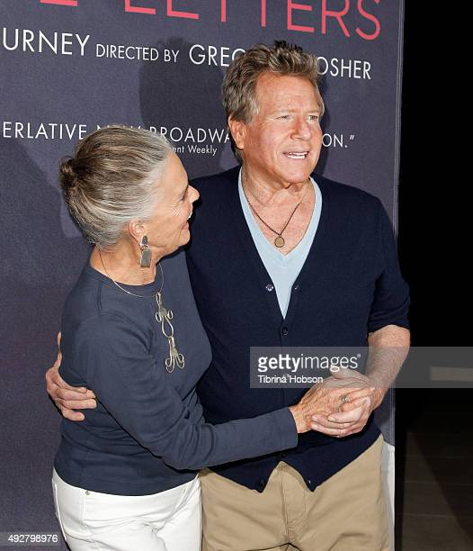 Ali MacGraw and Ryan O'Neal attend the curtain call for 'Love Letters' at Wallis Annenberg Center for the Performing Arts on October 14 2015 in...