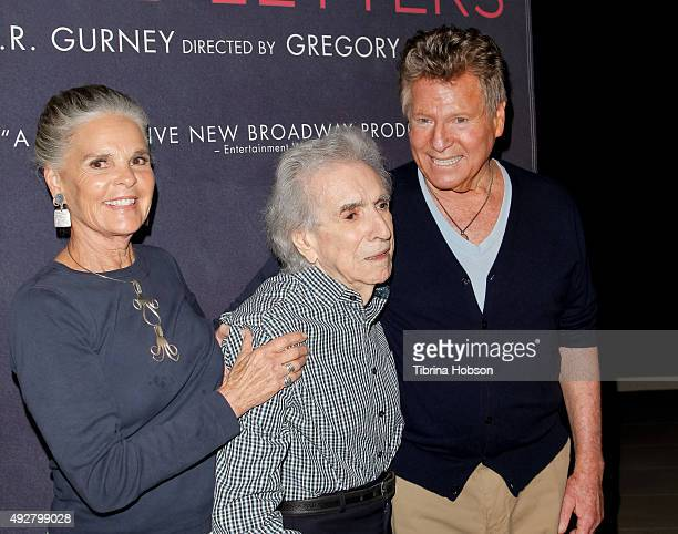 Ali MacGraw Arthur Hiller and Ryan O'Neal attend the curtain call for 'Love Letters' at Wallis Annenberg Center for the Performing Arts on October 14...