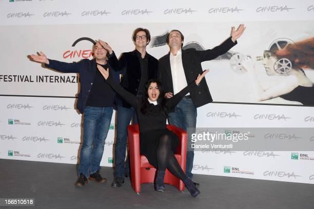 Ali Mafakheri Mattias Ripa Marjane Satrapi and Stephane Roche attend the 'La Bande Des Jotas' Photocall during the 7th Rome Film Festival at the...