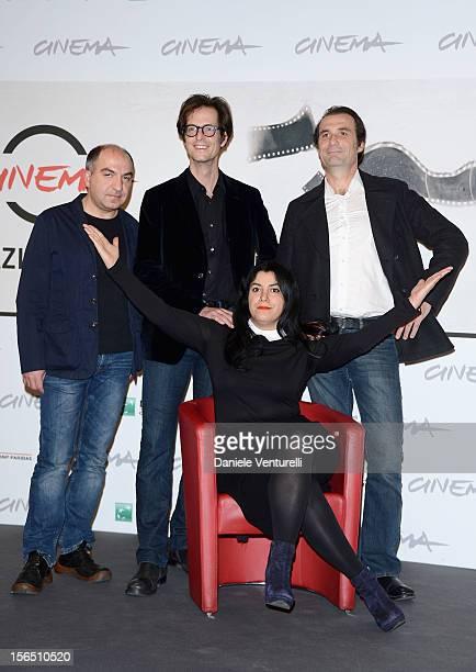 Ali Mafakheri, Mattias Ripa, Marjane Satrapi and Stephane Roche attend the 'La Bande Des Jotas' Photocall during the 7th Rome Film Festival at the...